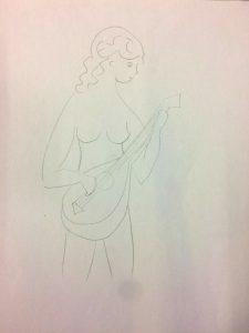 vrouw met mandoline tekening
